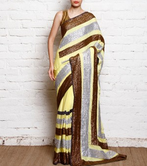 Buy Yellow Sequined Crepe Saree Online