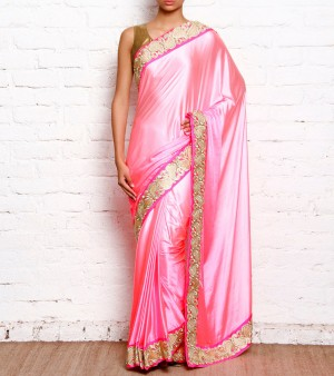 Buy Shaded Pink satin Saree With Cut Work Border Online