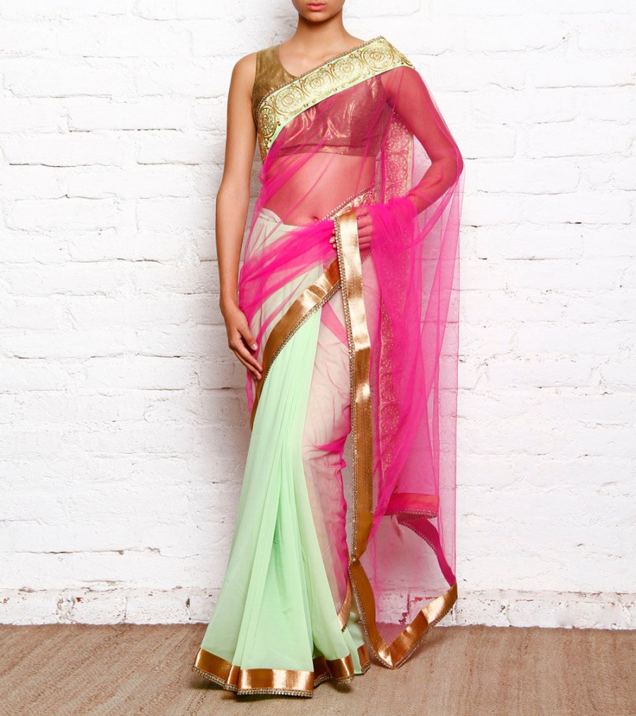 Buy Pista Green & Pink Georgette & Net Saree With Stone Embellished Border Online