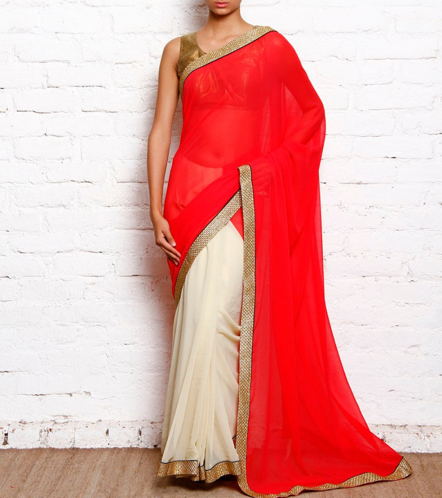 Buy Red & Cream Georgette Saree With Golden Border Online