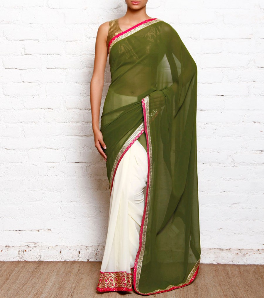 07bd7d40f357 Buy Mehendi Green & White Georgette Saree With Brocade & Lace Border Online