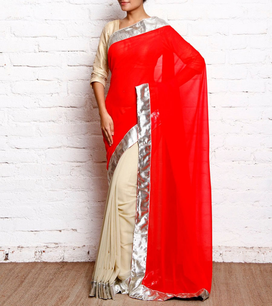Buy Red & Cream Georgette Saree With Silver Border Online