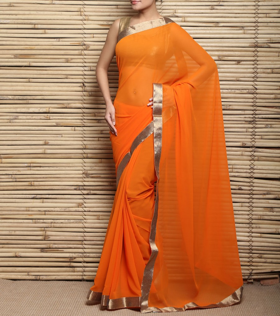 Buy Orange Georgette Saree Online