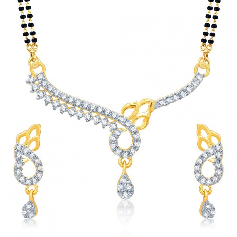 Buy Pissara Appealing Gold and Rhodium Plated Cubic Zirconia Stone Studded Mangalsutra Set Online