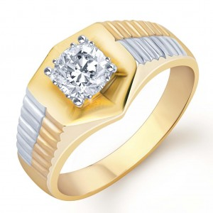 Buy Pissara Gold and Rhodium Plated Solitaire CZ Ring for Men(124GRK650) Online
