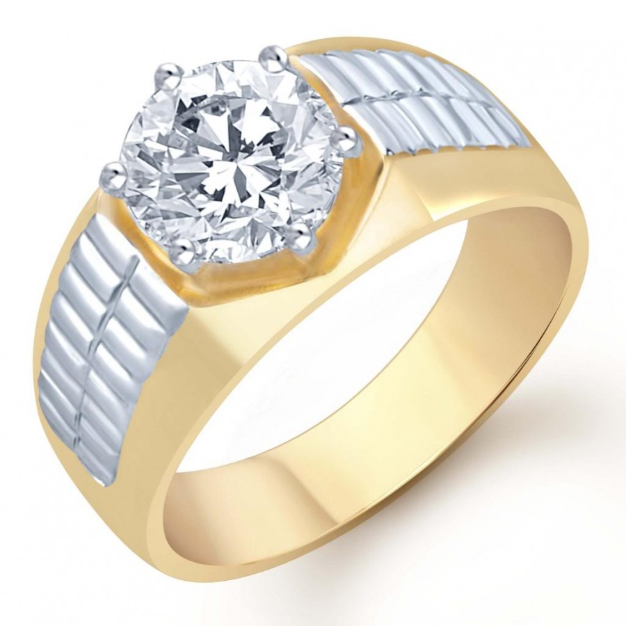 Buy Pissara Gold and Rhodium Plated Solitaire CZ Ring for Men(122GRK700) Online