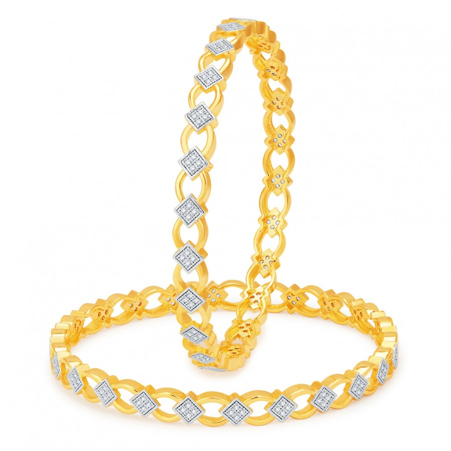 Buy Pissara Gleaming Gold and Rhodium Plated CZ Bangles Online