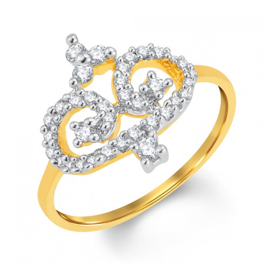 Buy Pissara Classy Gold and Rhodium Plated Cubic Zirconia Ring Online