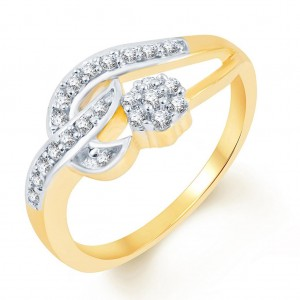 Buy Pissara Intricately Crafted Two Tone CZ Studded Ring Online
