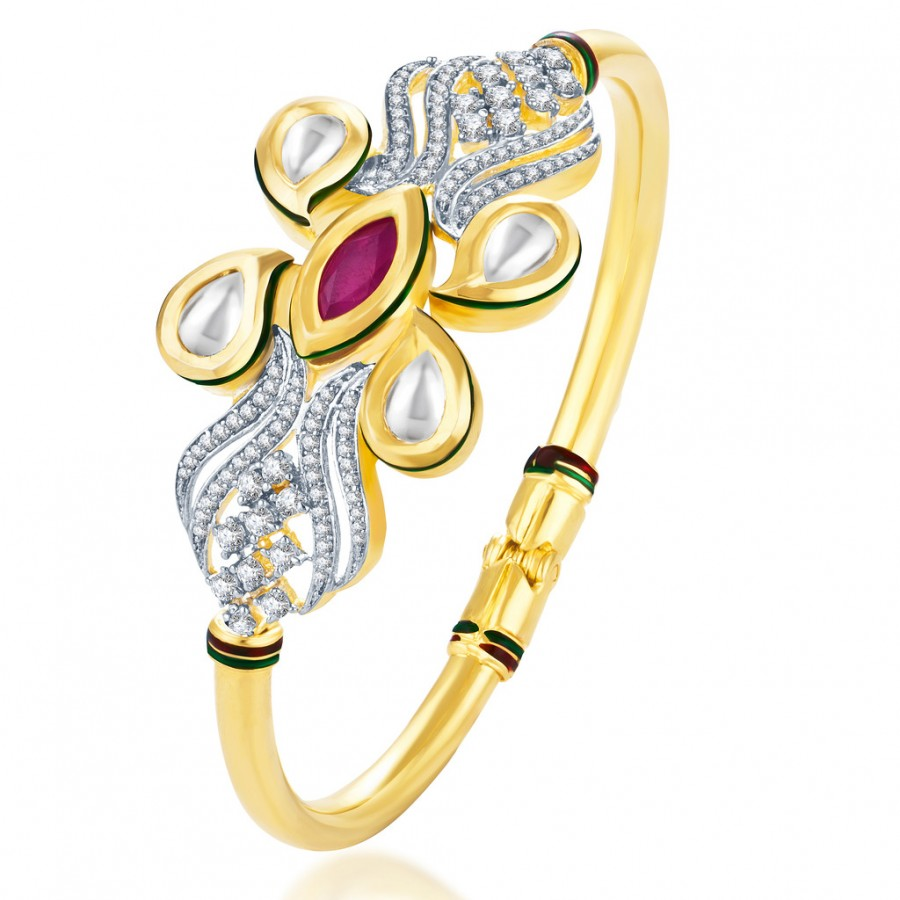 Buy Pissara Kundan-CZ Gold and Rhodium plated Ritzzy Crafted Kada Online