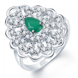 Buy Pissara Enchanting Rhodium Plated CZ Emerald Ring Online