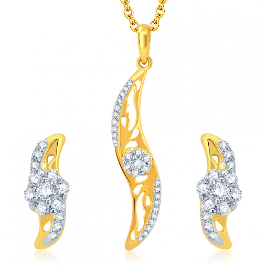 Buy Pissara Classic Gold and Rhodium Plated CZ Pendant Set Online