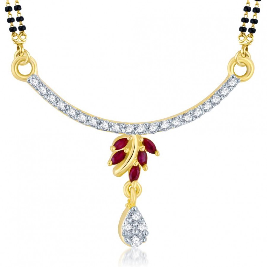 Buy Pissara Charming Gold and Rhodium Plated Cubic Zirconia and Ruby Stone Studded Mangalsutra Pendant Online