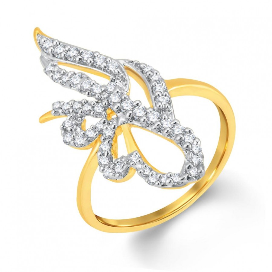 Buy Pissara Bewitching Gold and Rhodium Plated Cubic Zirconia Ring Online