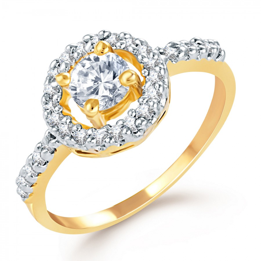 Buy Pissara Pretty Gold and Rhodium Plated CZ Ring Online