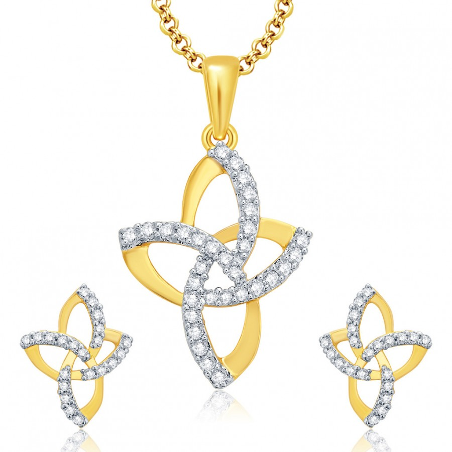 Buy Pissara Winsome Gold And Rhodium Plated CZ Pendant Set For Women Online