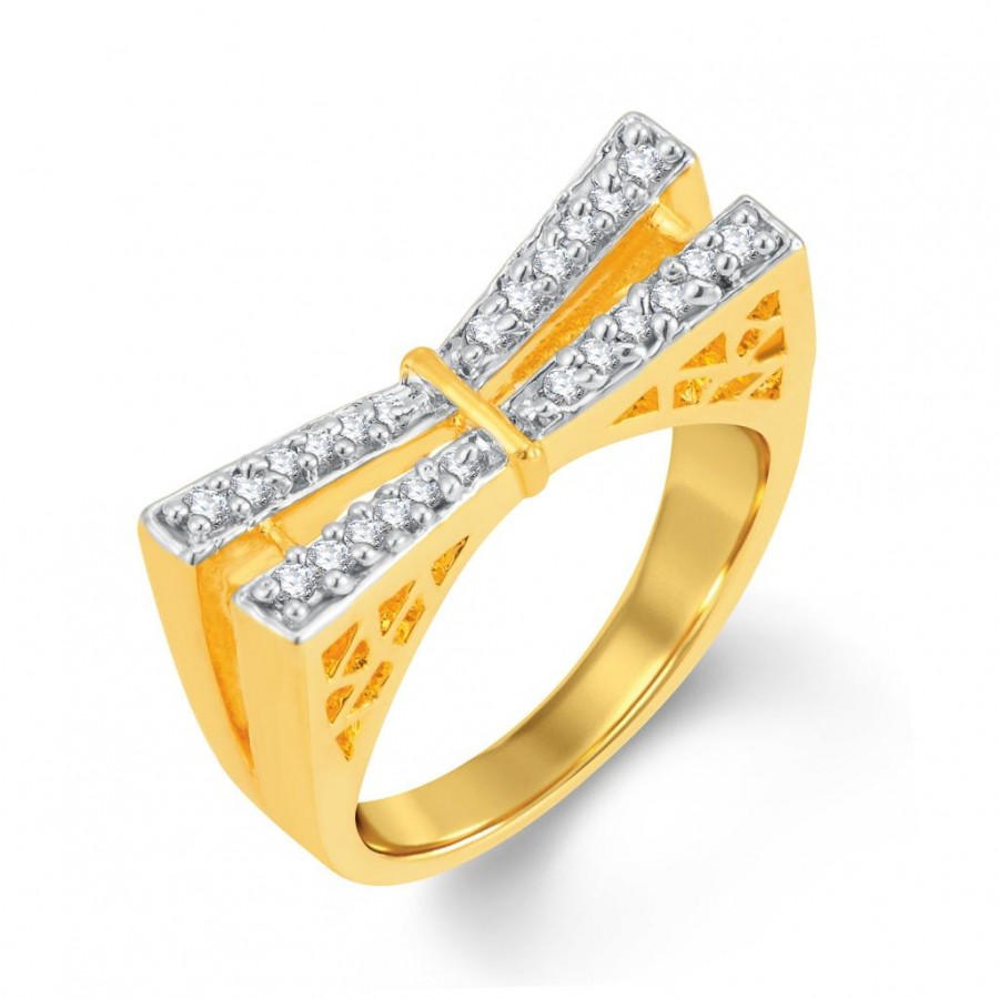 Buy Pissara Creative Gold and Rhodium Plated Cubic Zirconia Ring Online