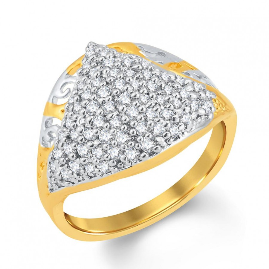 Buy Pissara Glamorous Gold and Rhodium Plated Cubic Zirconia Ring Online