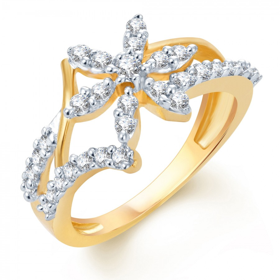 Buy Pissara Artistically Crafted Gold and Rhodium Plated CZ Ring Online