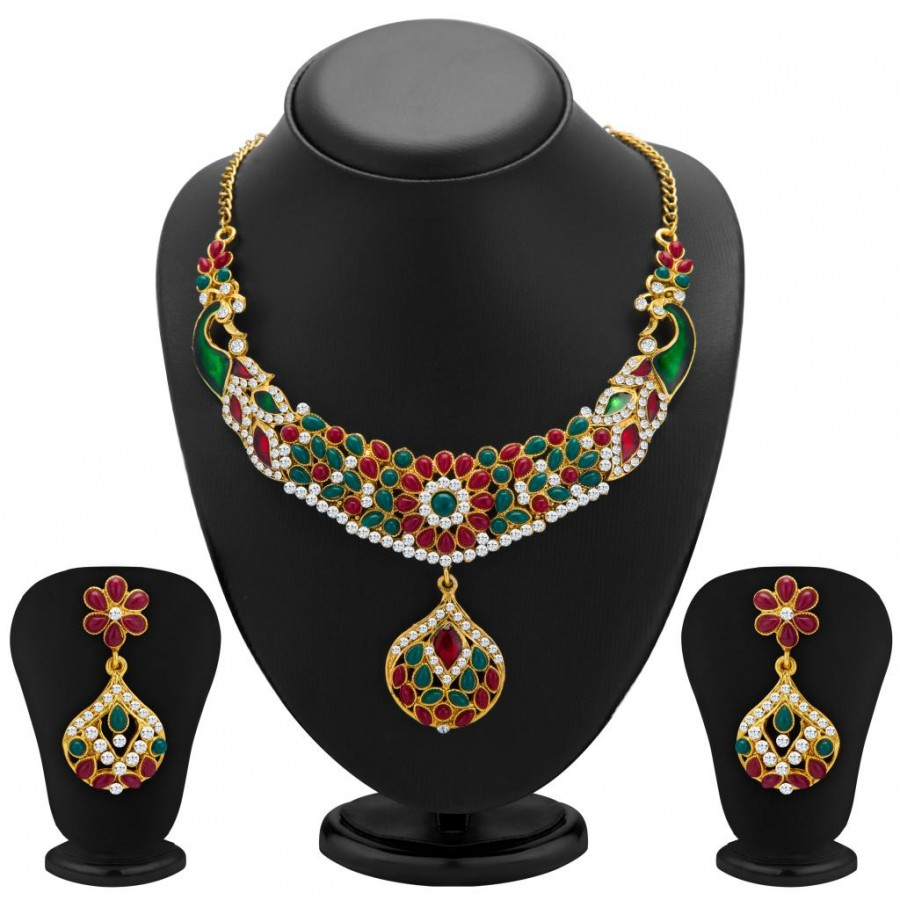 Buy Sukkhi Classic Peacock Gold Plated Meenakari AD Necklace Set for Women Online