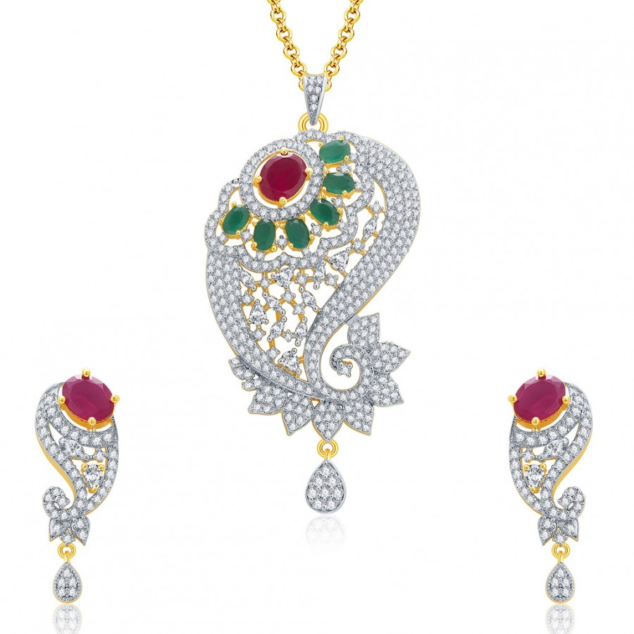 Buy Pissara Fantasies Gold And Rhodium Plated Ruby CZ Pendant Set For Women Online