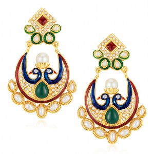 Buy Sukkhi Prettly Peacock Gold Plated Australian Diamond Earrings Online