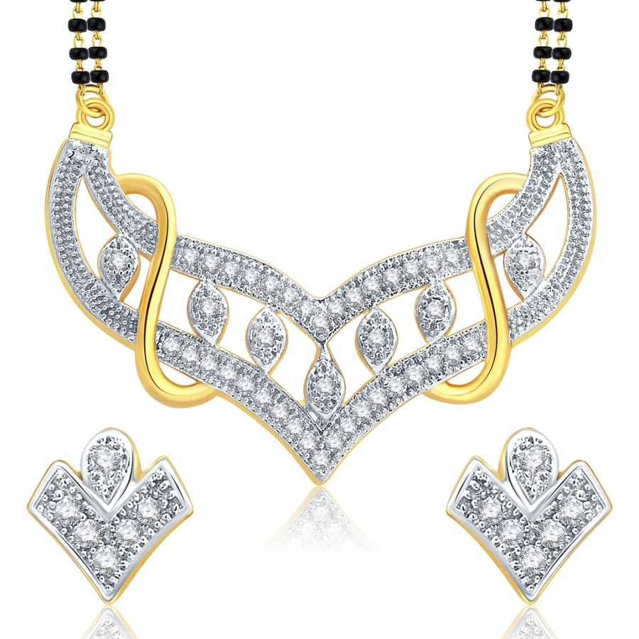 Buy Pissara Spontaneous Gold And Rhodium Plated CZ Mangalasutra Set For Women Online
