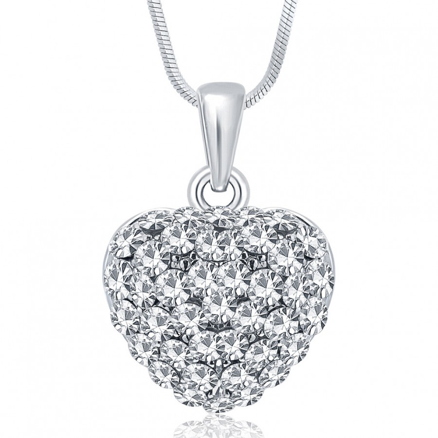Buy Sukkhi Sublime Rhodium Plated Austrian Crystal Valentine Heart Pendant With Chain Online