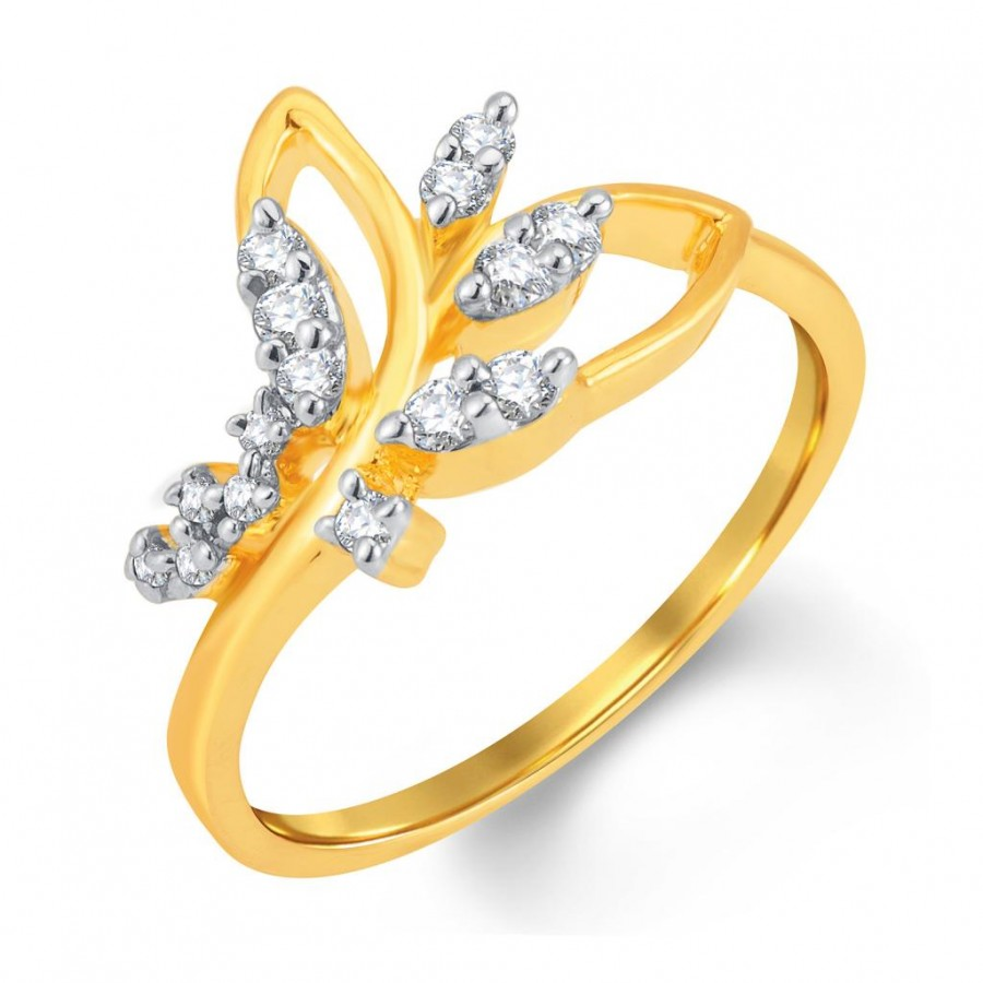 Buy Pissara Gracefull Gold and Rhodium Plated Cubic Zirconia Ring Online