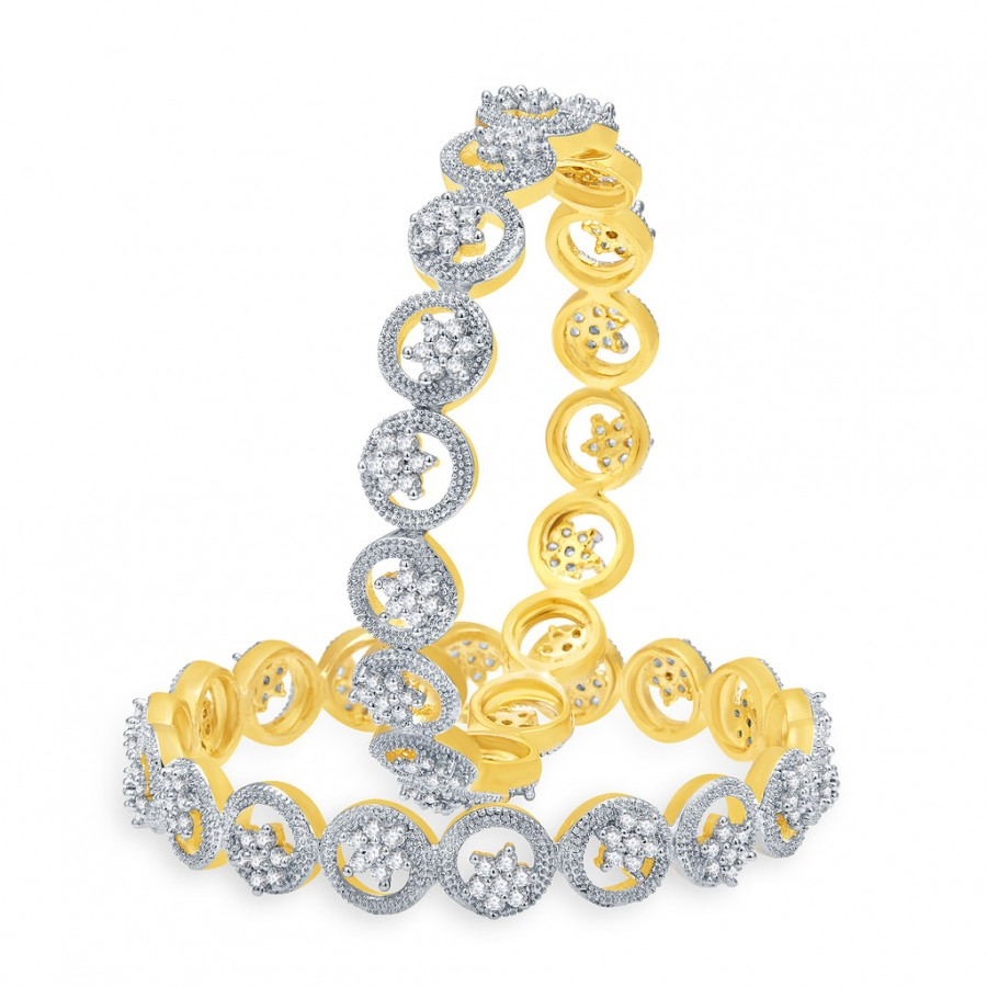 Buy Pissara Designer Gold And Rhodium Plated CZ Bangles For Women Online