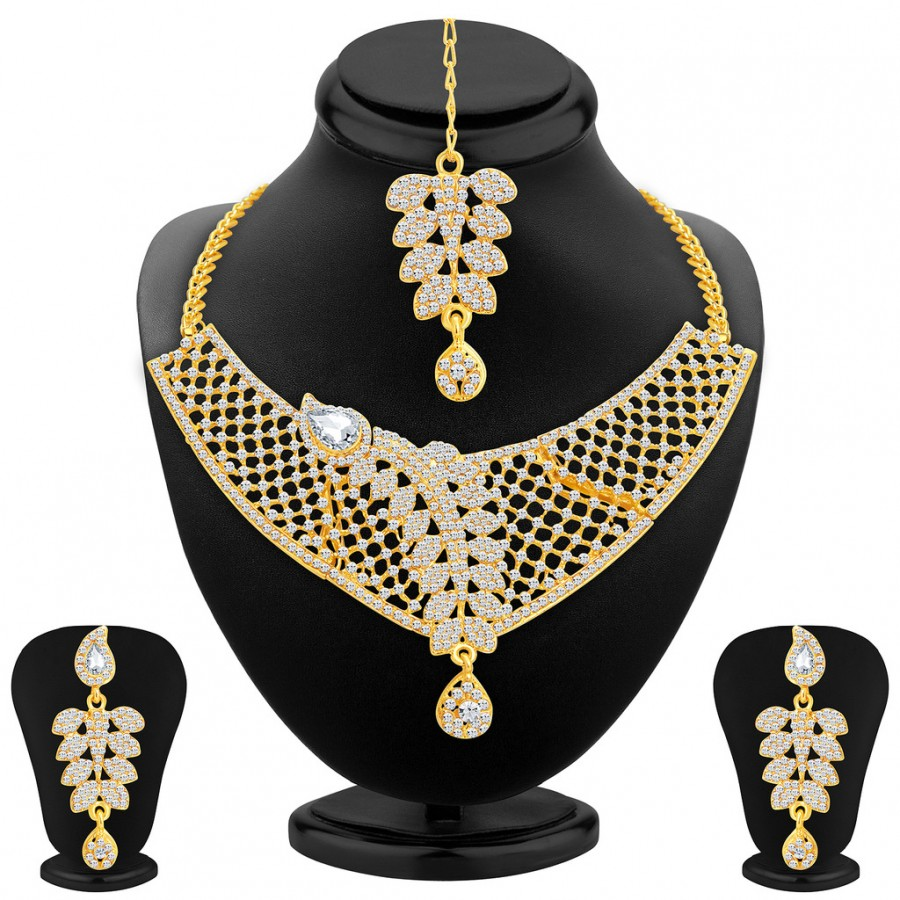 Buy Sukkhi Dazzling Gold Plated AD Necklace Set For Women Online