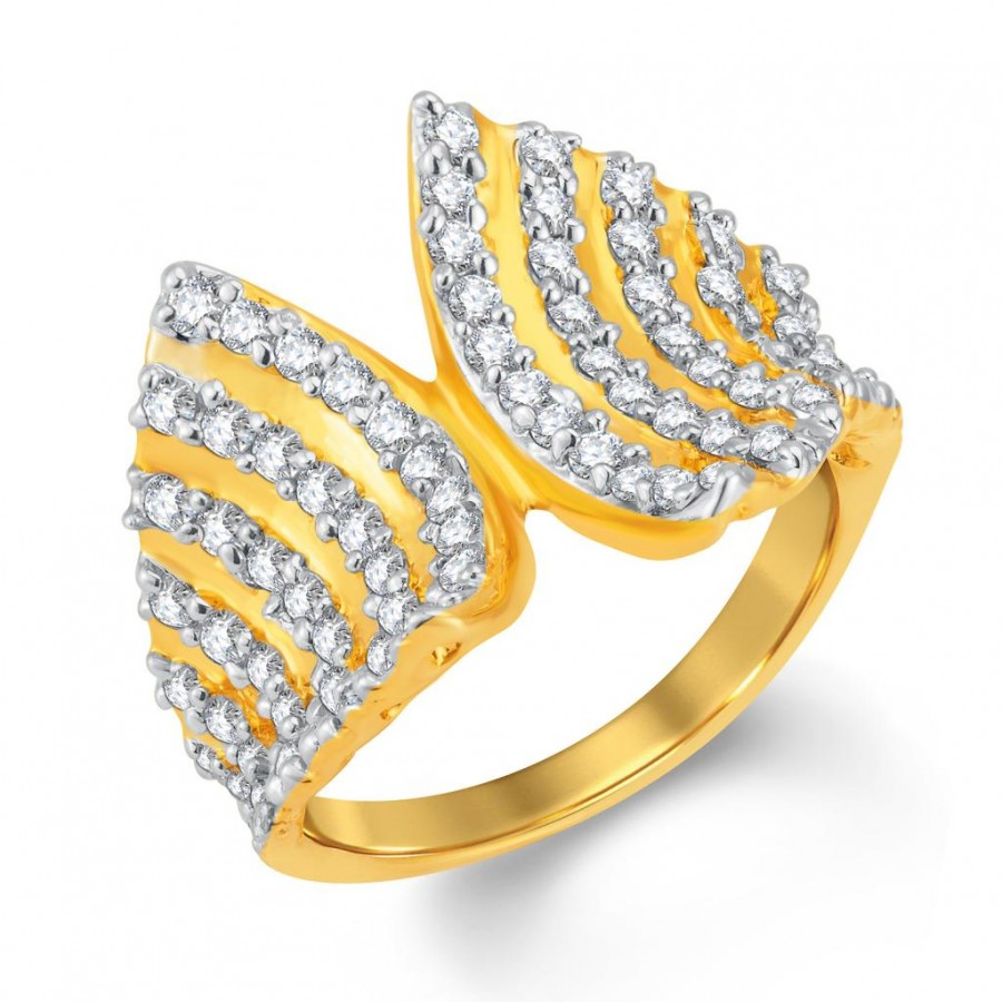 Buy Pissara Exquisite Gold and Rhodium Plated Cubic Zirconia Ring Online