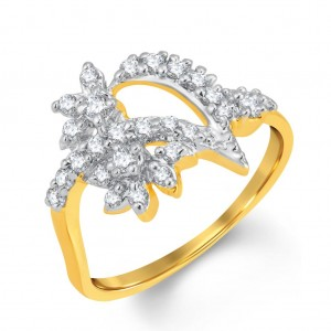 Buy Pissara Shimmering Gold and Rhodium Plated Cubic Zirconia Ring Online