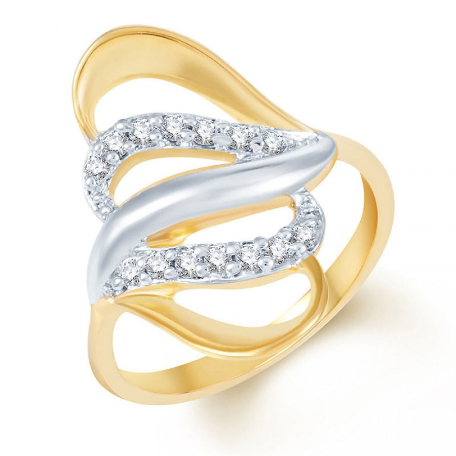 Buy Pissara Beguilling Classy Gold and Rhodium Plated CZ Ring Online