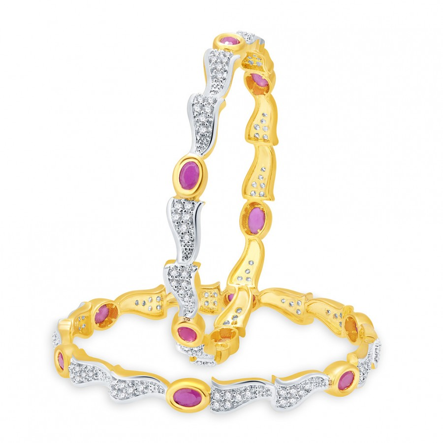 Buy Pissara Vibrant Gold And Rhodium Plated Ruby CZ Bangles For Women Online