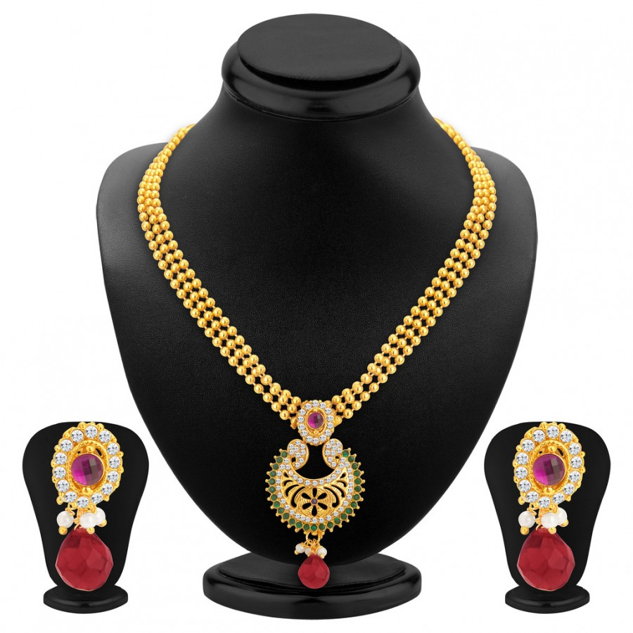 Buy Sukkhi Sleek Gold Plated Necklace Set For Women Online