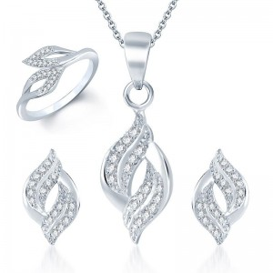 Buy Pissara Enchanting Rhodium Plated CZ Pandent Set and Ring Combo Online