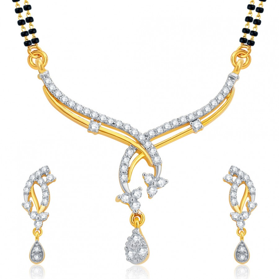 Buy Pissara Gleaming Gold and Rhodium Plated CZ Mangalsutra Set For Women Online