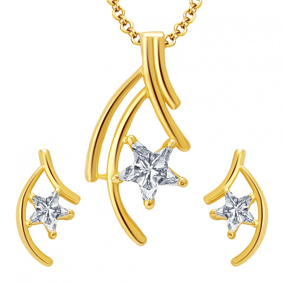 Buy Pissara Sumptuous Gold Plated CZ Pendant Set For Women Online
