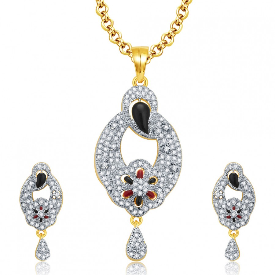 Buy Pissara Alluring Gold And Rhodium Plated CZ Pendant Set For Women Online