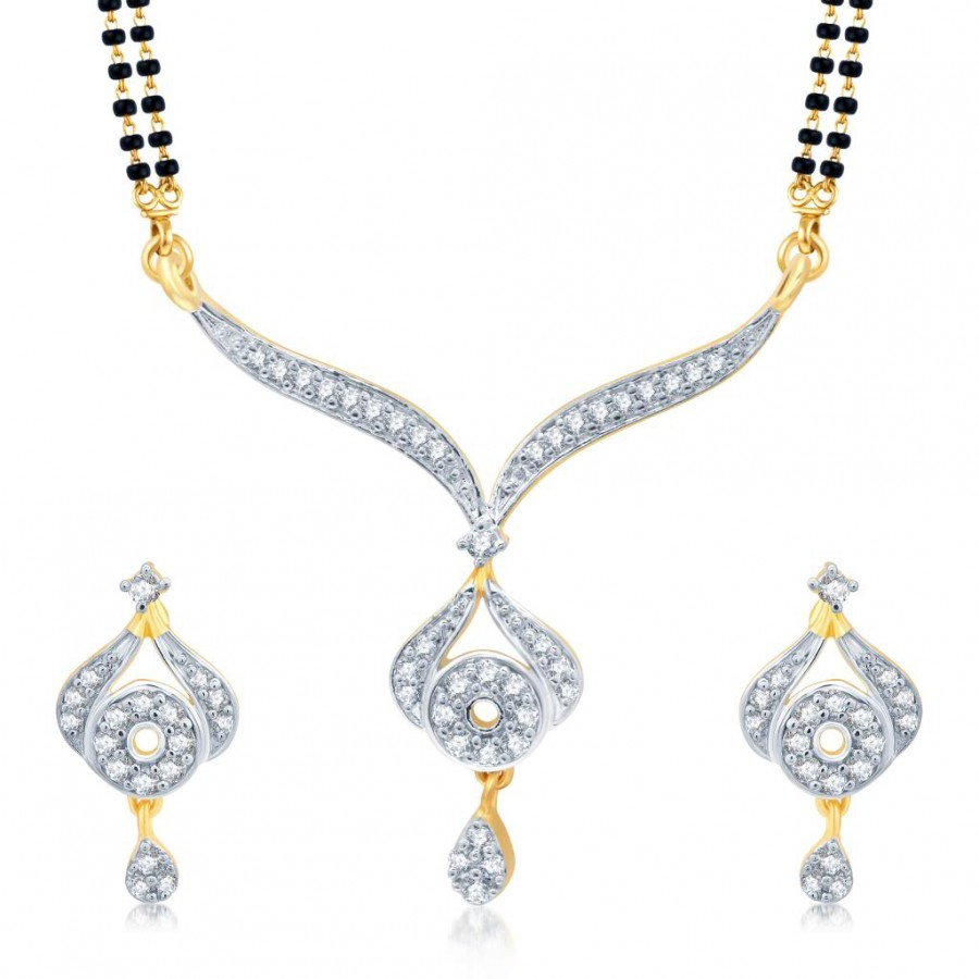 Buy Pissara Graceful Gold and Rhodium Plated Cubic Zirconia Stone Studded Mangalsutra Set Online