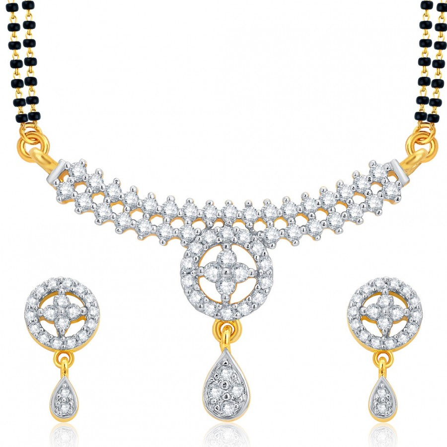 Buy Pissara Glistening Gold and Rhodium Plated CZ Mangalsutra Set For Women Online