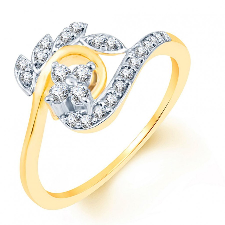 Buy Pissara Exquitely Crafted Two Tone CZ Ring Online