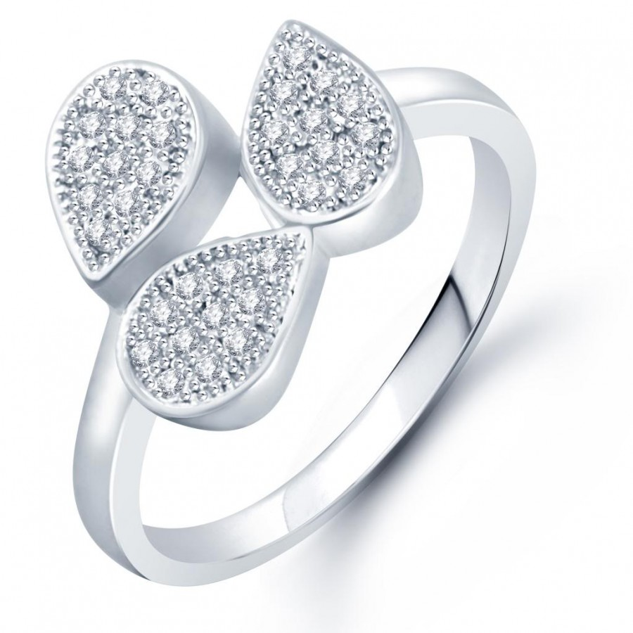 Buy Pissara Stylish Micro Pave Setting Rhodium Plated CZ Ring for Women(331R650) Online