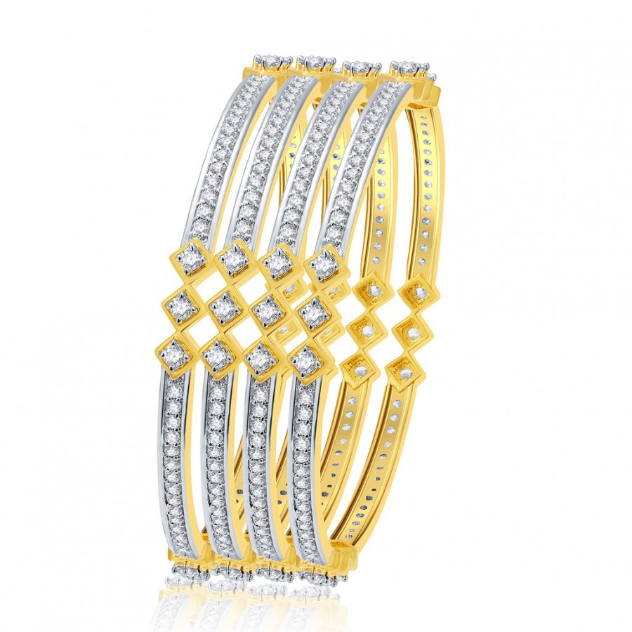 Buy Pissara Dazzling Gold And Rhodium Plated CZ Bangles For Women Online