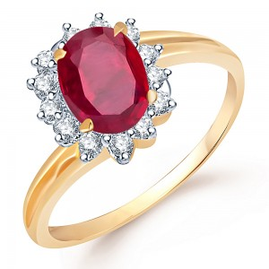 Buy Sukkhi Modern Gold and Rodium plated CZ Studded Ruby Ring Online