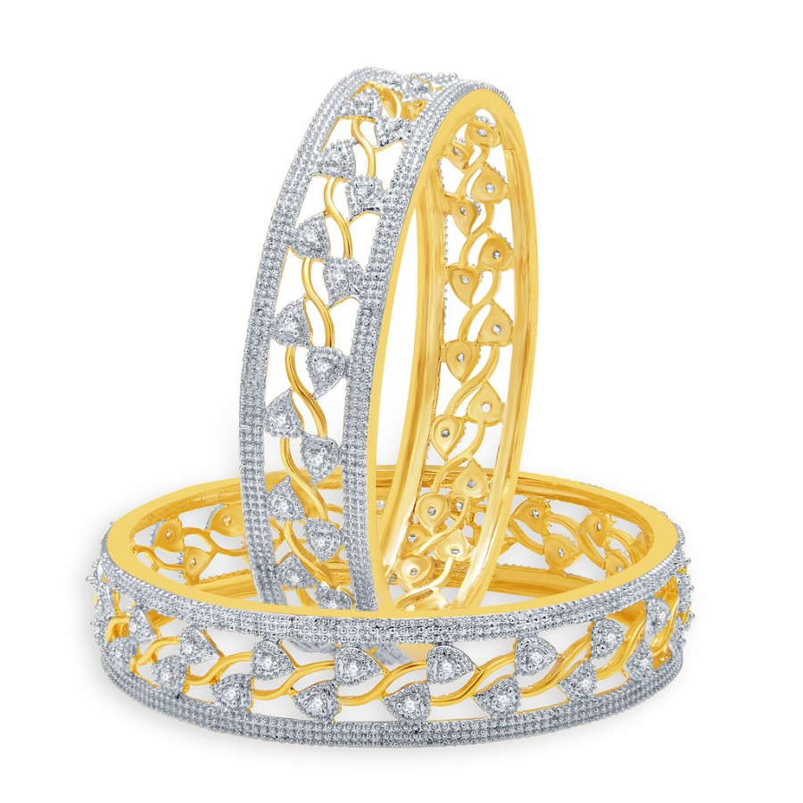 Buy Pissara Gripping Gold And Rhodium Plated CZ Bangles For Women Online
