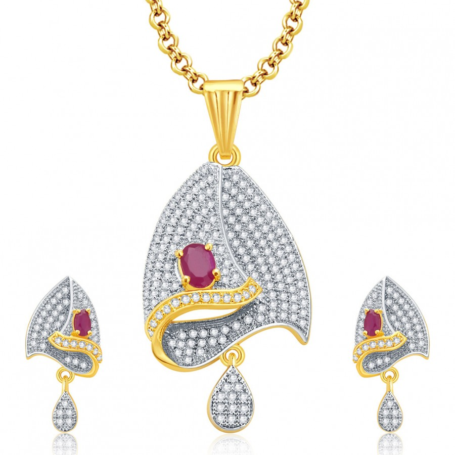 Buy Pissara Enthralling Gold And Rhodium Plated Ruby CZ Pendant Set For Women Online