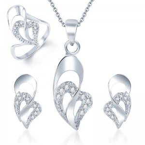 Buy Pissara Eye-Catchy Rhodium Plated CZ Pandent Set and Ring Combo Online