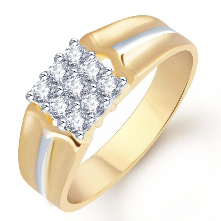 Buy Pissara Gold and Rhodium Plated CZ Ring for Men(112GRK510) Online